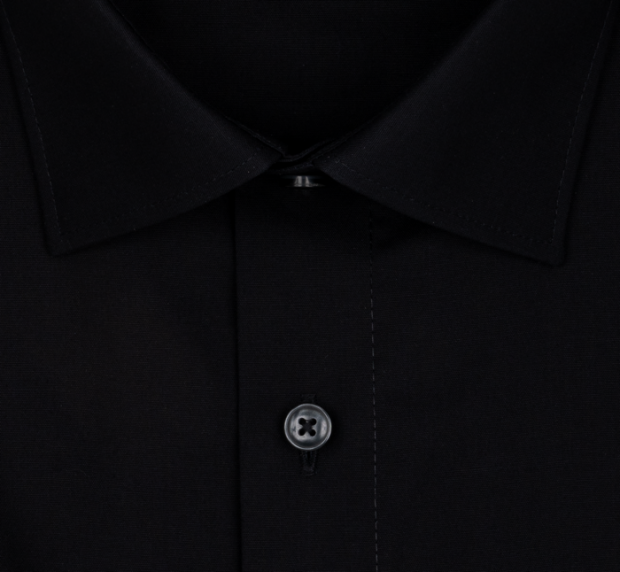 OLYMP vasalásmentes férfi ing karcsúsított fekete rövid ujjú - gallér