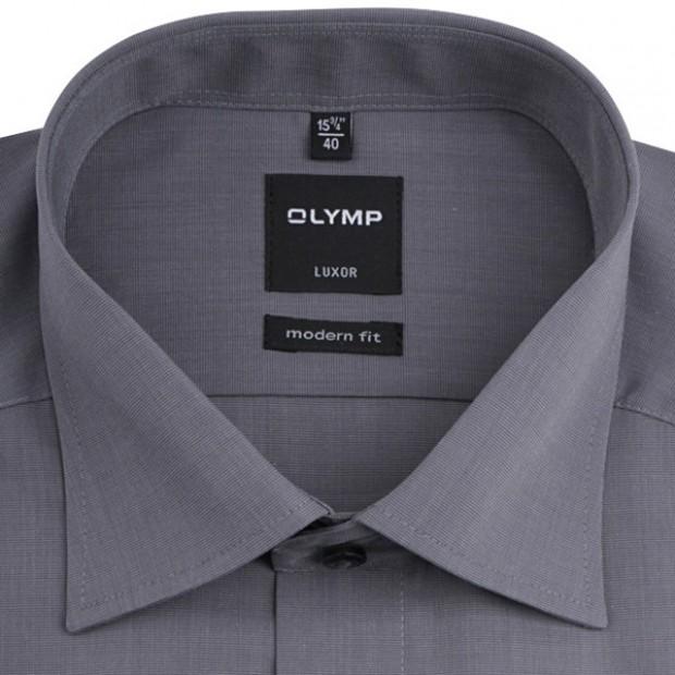 OLYMP vasalásmentes férfi ing karcsúsított szürke hosszított ujjú - gallér