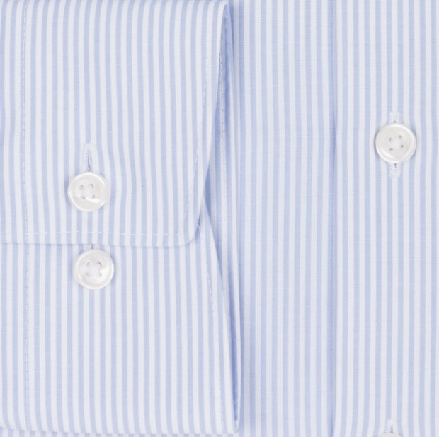 OLYMP vasalásmentes férfi ing karcsúsított kék csíkos - mandzsetta