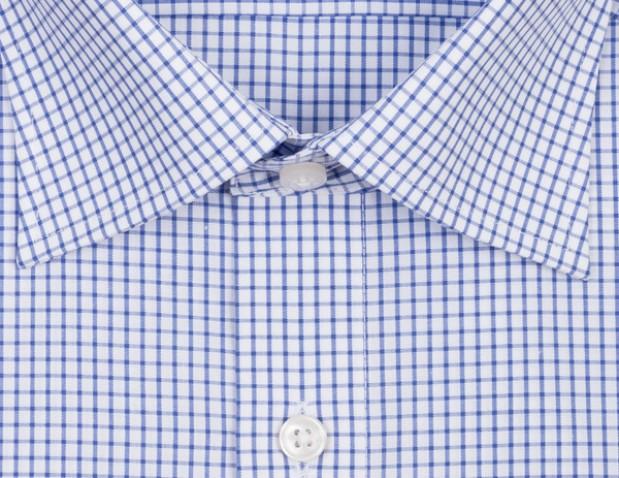 OLYMP vasalásmentes férfi ing karcsúsított kék kockás - gallér