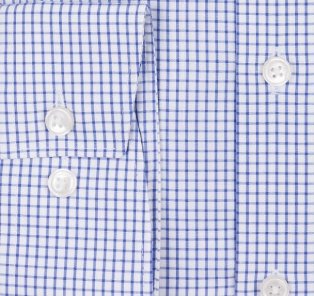 OLYMP vasalásmentes férfi ing kék kockás - mandzsetta