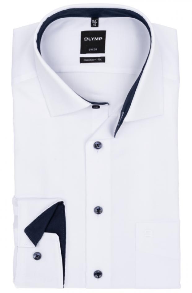 OLYMP vasalásmentes férfi ing karcsúsított fehér mintás