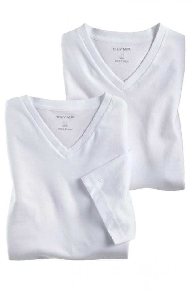OLYMP férfi póló fehér V nyakú