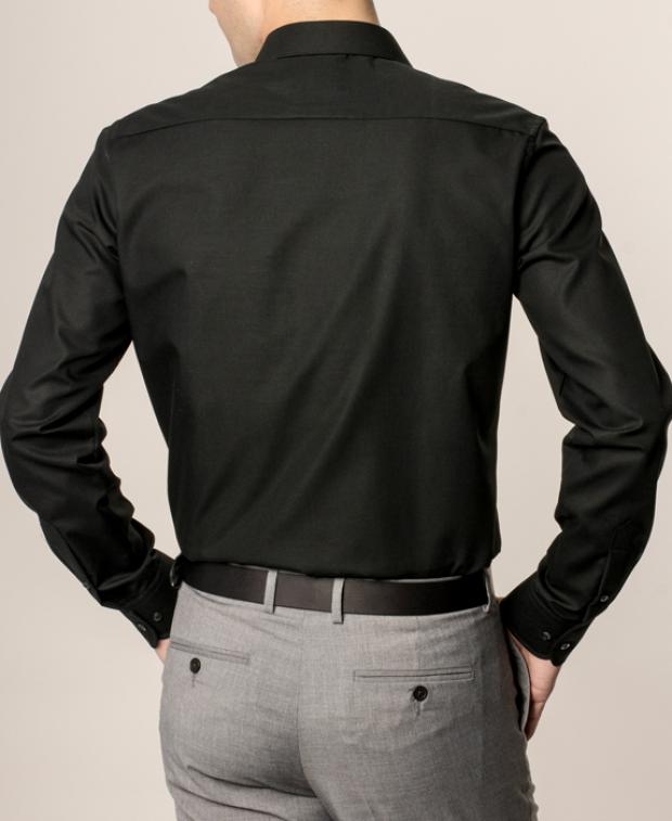 eterna vasalásmentes duplán karcsúsított férfi ing fekete - modell hát