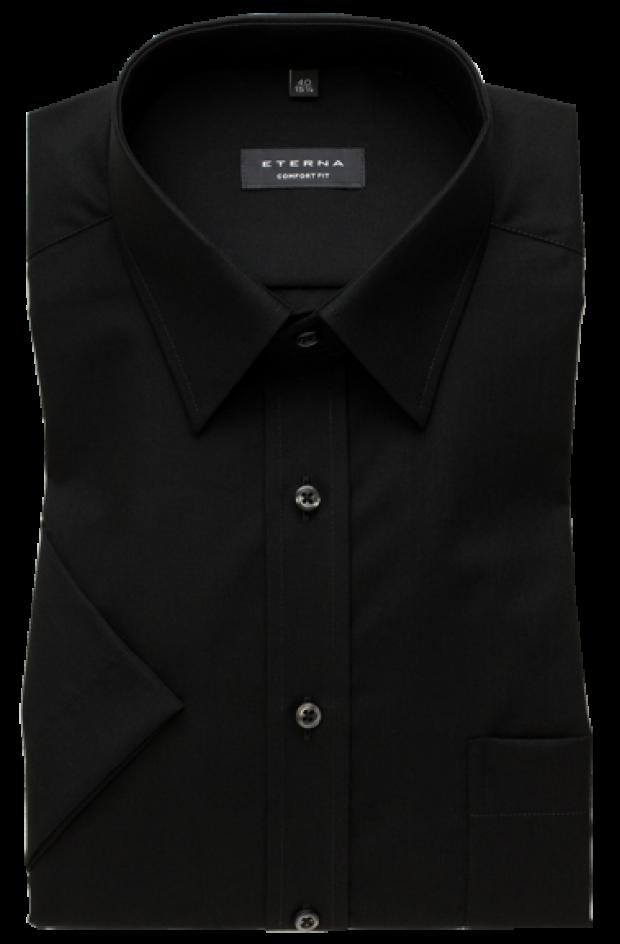 eterna vasalásmentes férfi ing fekete rövid ujjú