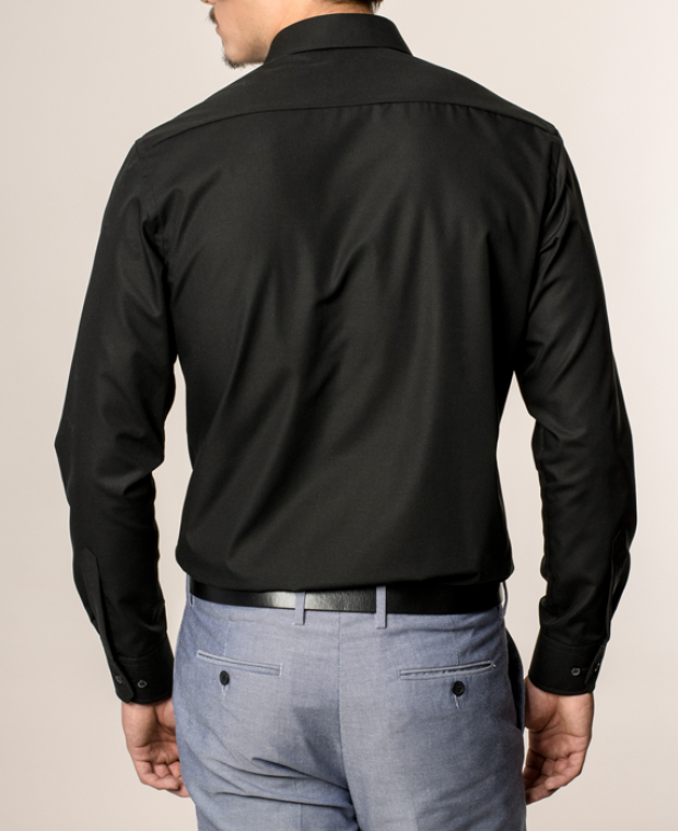 eterna vasalásmentes karcsúsított férfi ing fekete - modell hát