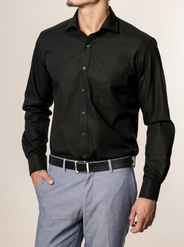 eterna vasalásmentes karcsúsított férfi ing fekete - modell