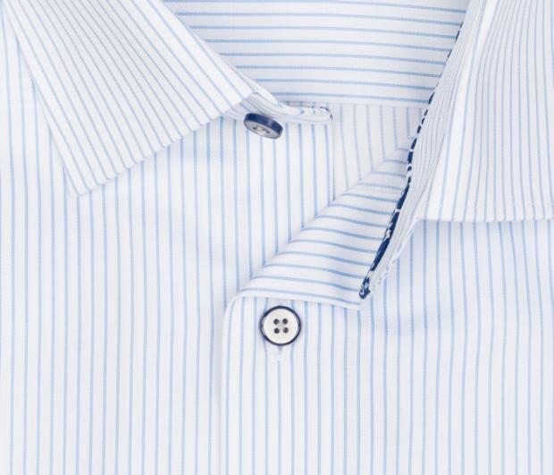 OLYMP vasalásmentes férfi ing karcsúsított világoskék csíkos - gallér