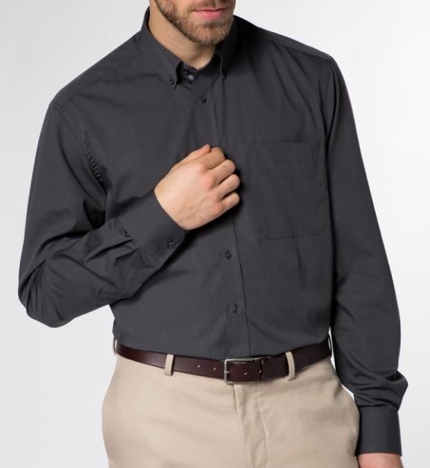 eterna vasalásmentes férfi ing sötétszürke (legombolt gallér) - modell