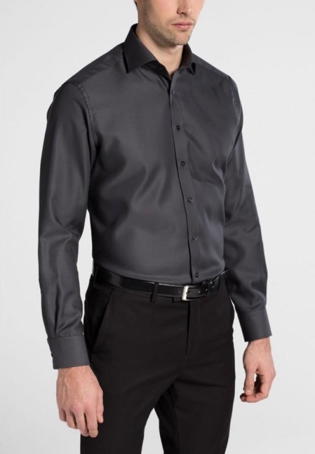 eterna vasalásmentes karcsúsított férfi ing sötétszürke anyagában mintás - modell