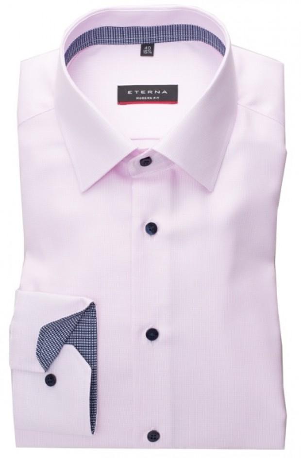 eterna vasalásmentes karcsúsított férfi ing rózsaszín anyagában mintás