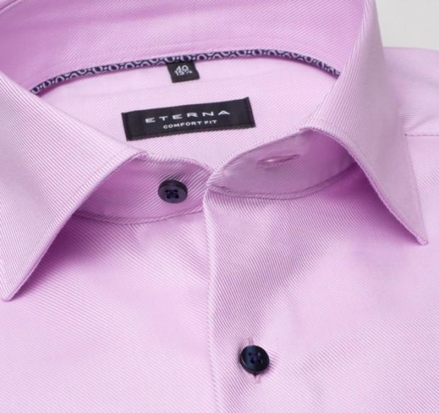 eterna vasalásmentes férfi ing lilás rózsaszín anyagában csíkos - gallér
