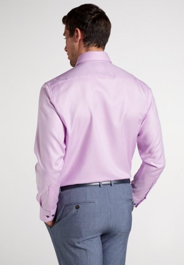 eterna vasalásmentes férfi ing lilás rózsaszín anyagában csíkos - hát