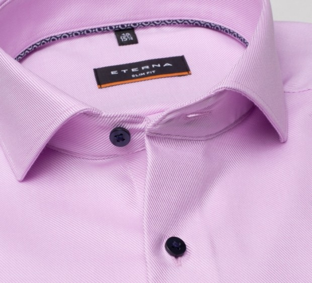 eterna vasalásmentes karcsúsított férfi ing lilás rózsaszín anyagában csíkos - gallér