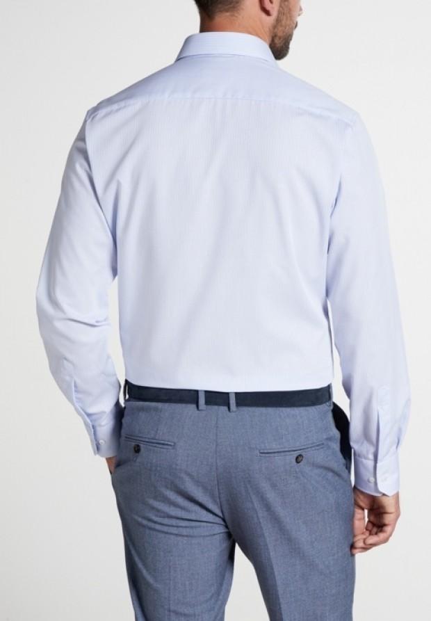 eterna vasalásmentes karcsúsított férfi ing világoskék-fehér kockás - modell hát