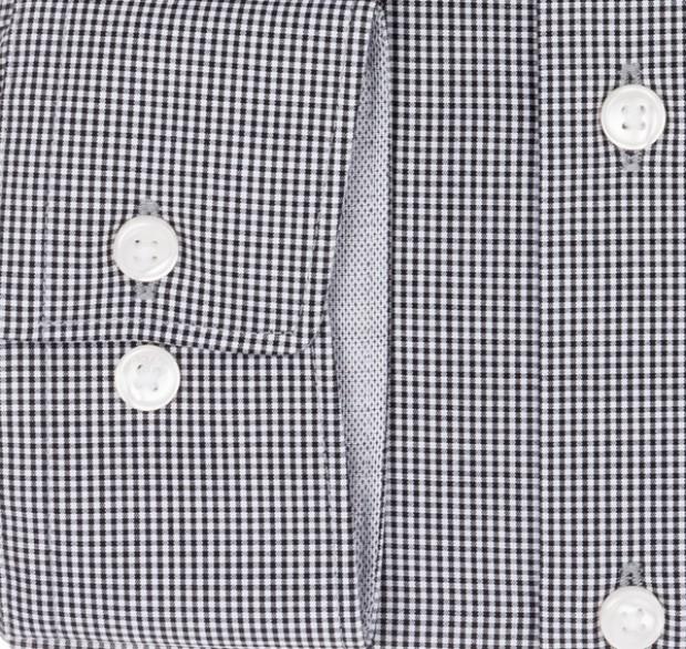 OLYMP vasalásmentes férfi ing fekete apró kockás - mandzsetta