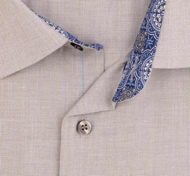 eterna vasalásmentes karcsúsított férfi ing rövid ujjú világosbarna - gallér