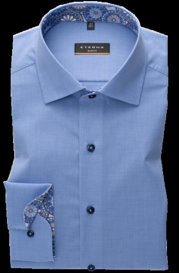eterna vasalásmentes karcsúsított férfi ing kék apró mintás