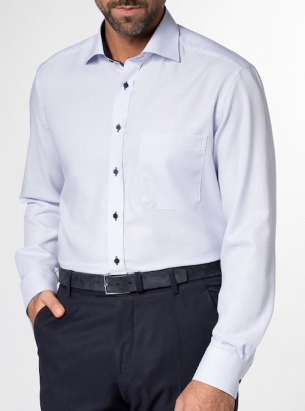 eterna vasalásmentes férfi ing kék anyagában mintás - modell