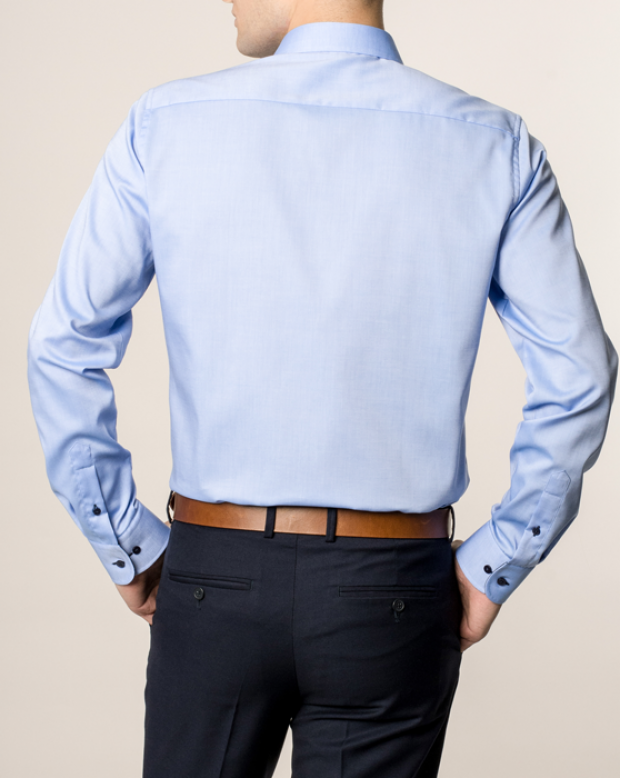 eterna vasalásmentes duplán karcsúsított férfi ing kék - hát