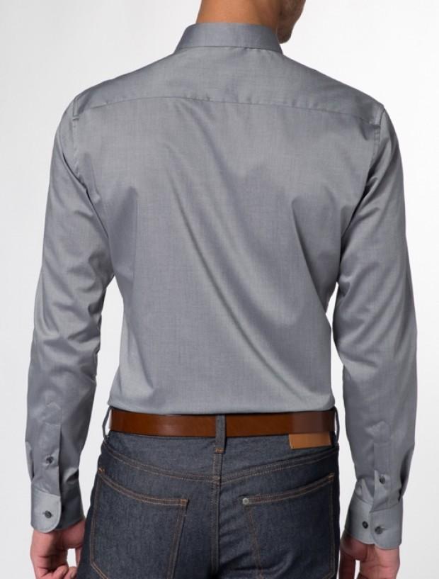 eterna vasalásmentes duplán karcsúsított férfi ing szürke - hát