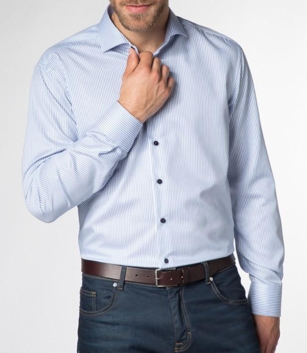 eterna vasalásmentes karcsúsított férfi ing kék csíkos - modell