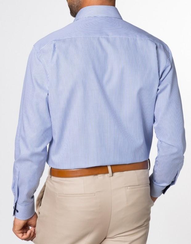 eterna vasalásmentes férfi ing kék csíkos - modell hát