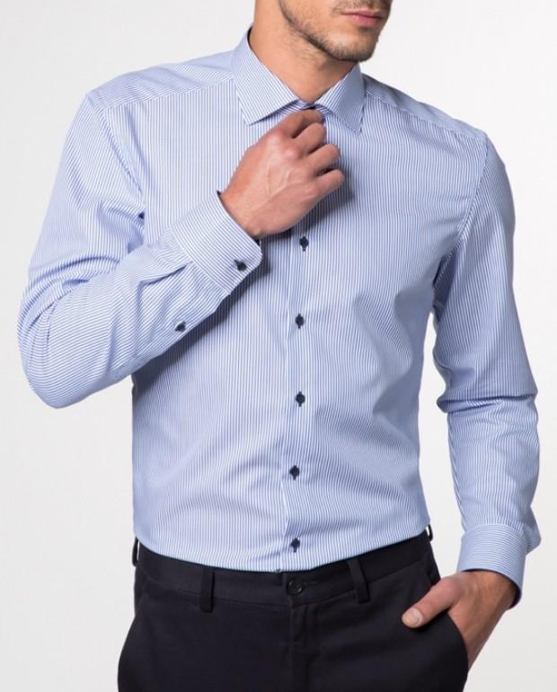 eterna vasalásmentes duplán karcsúsított férfi ing kék csíkos - modell