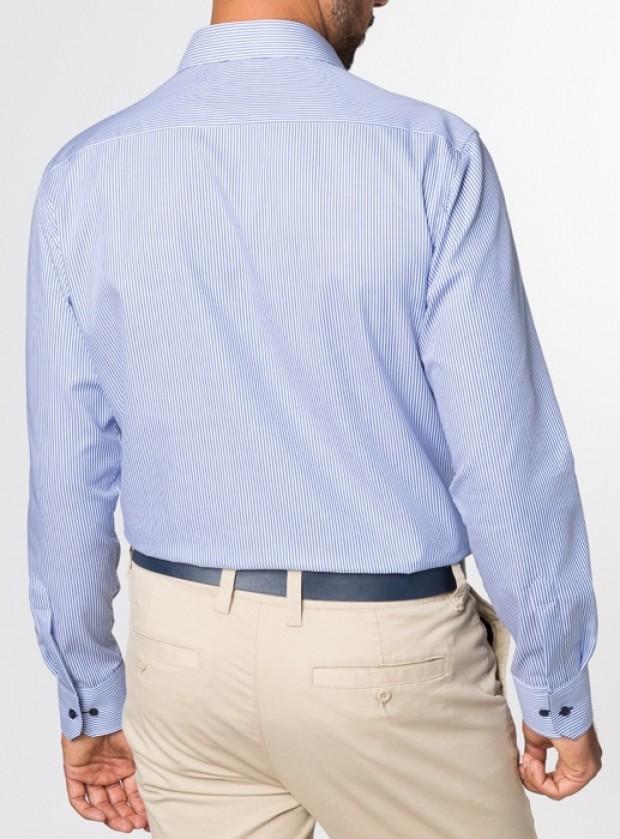 eterna vasalásmentes karcsúsított férfi ing kék csíkos - modell hát