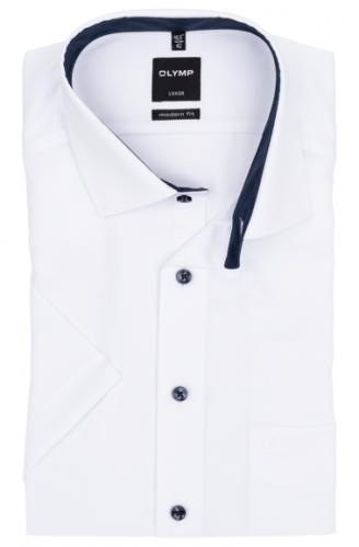 OLYMP vasalásmentes férfi ing karcsúsított fehér anyagában mintás rövid ujjú (sötétkék gombok)