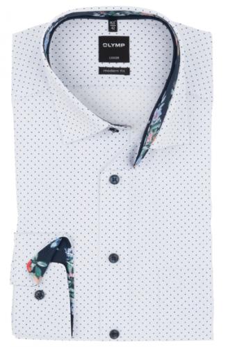 OLYMP vasalásmentes férfi ing karcsúsított fehér-sötétkék pöttyös
