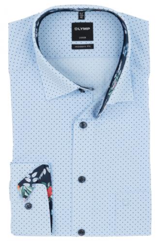 OLYMP vasalásmentes férfi ing karcsúsított kék-sötétkék pöttyös