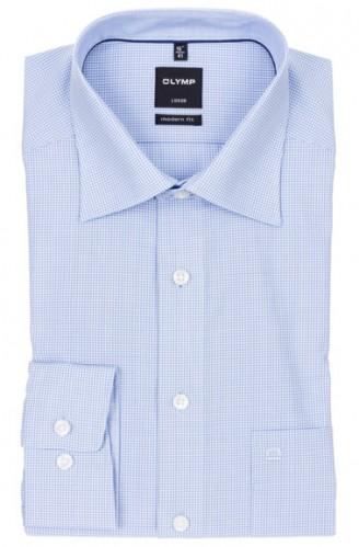 OLYMP vasalásmentes férfi ing karcsúsított kék kockás