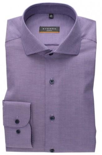eterna vasalásmentes karcsúsított férfi ing lila anyagában mintás