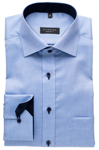 ETERNA comfort fit kék ing (finom oxford szövet, hosszított ujjú, 68cm)