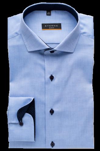 eterna vasalásmentes duplán karcsúsított férfi ing kék