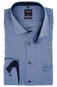 OLYMP vasalásmentes férfi ing karcsúsított sötétkék mintás
