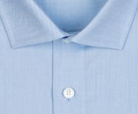 OLYMP vasalásmentes férfi ing karcsúsított világoskék anyagában csíkos - gallér