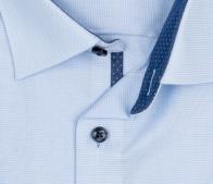 OLYMP vasalásmentes férfi ing karcsúsított világoskék mintás rövid ujjú - gallér