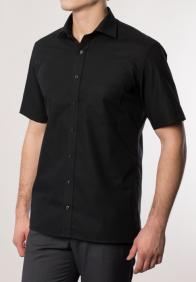 eterna vasalásmentes karcsúsított férfi ing fekete rövid ujjú - modell