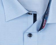 OLYMP vasalásmentes férfi ing karcsúsított kék apró mintás rövidített ujjú - gallér