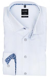 OLYMP vasalásmentes férfi ing karcsúsított világoskék csíkos