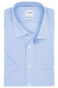OLYMP vasalásmentes férfi ing kék apró kockás rövid ujjú