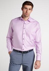 eterna vasalásmentes férfi ing lilás rózsaszín anyagában csíkos - modell
