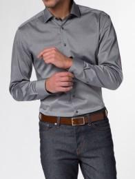 eterna vasalásmentes duplán karcsúsított férfi ing szürke - modell