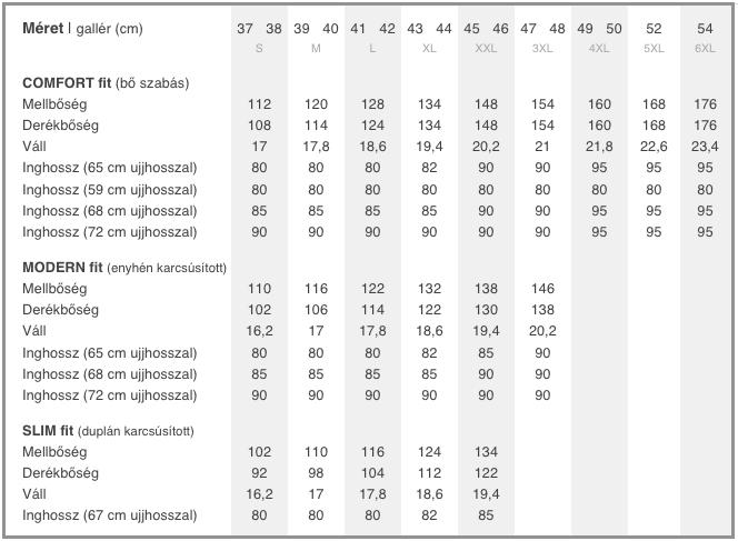625e997b82 Mérettáblázatok - nemvasalok.hu webáruház