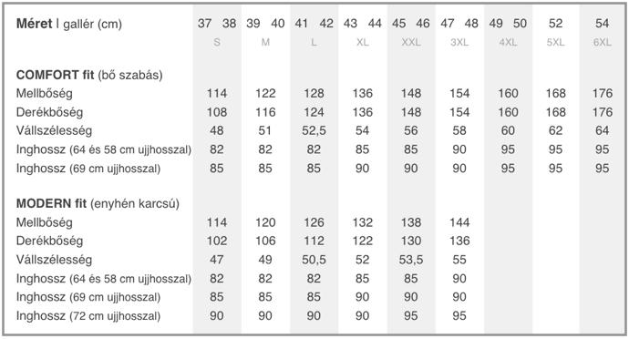 OLYMP ingek mérettáblázat