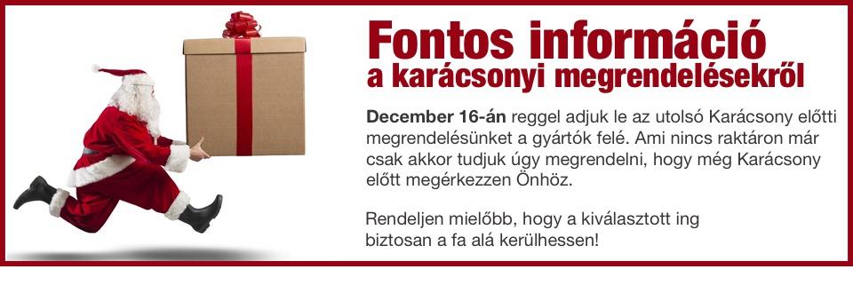 Fontos! Utolsó rendelés a gyártók felé: december 16.