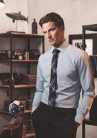 OLYMP kék-barna mintás ing