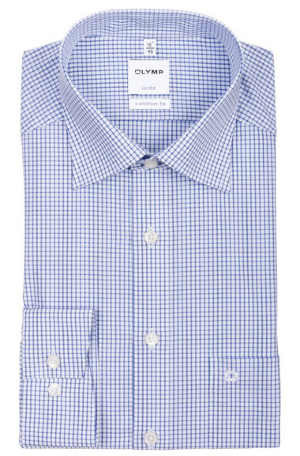 OLYMP vasalásmentes férfi ing kék kockás